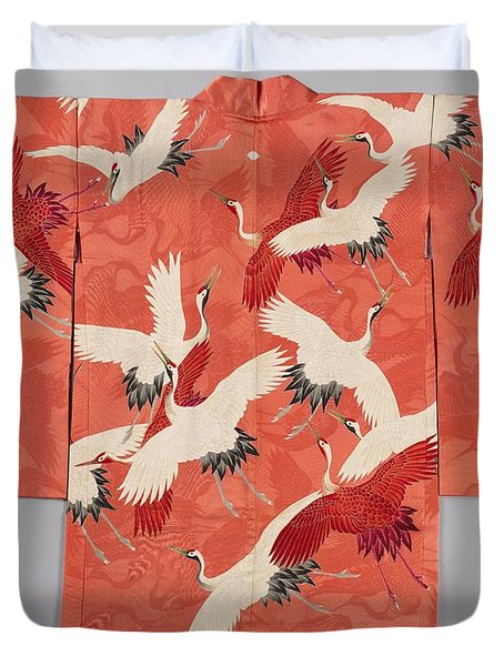 Woman's Haori With White And Red Cranes Duvet Cover