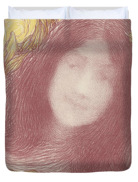 Woman's Head With Flowers Duvet Cover