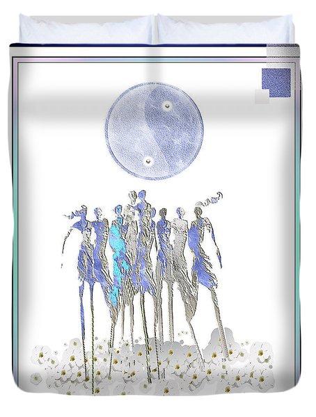 Women Chanting - Full Moon Flower Song Duvet Cover