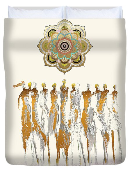 Women Chanting Mandala Duvet Cover