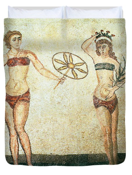 Women In Bikinis From The Room Of The Ten Dancing Girls Duvet Cover by Roman School