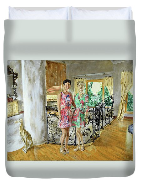 Women In Sunroom Duvet Cover