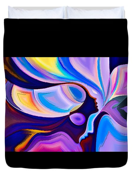 Duvet Cover featuring the digital art Women by Karen Showell