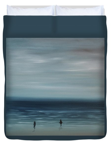Women On The Beach Duvet Cover by Tone Aanderaa
