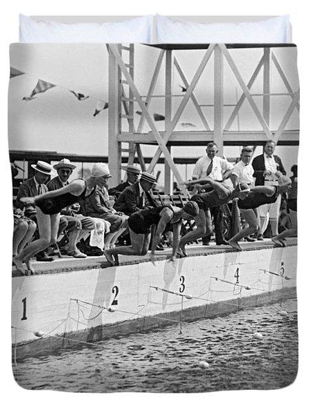 Women's Swimming Championship Duvet Cover