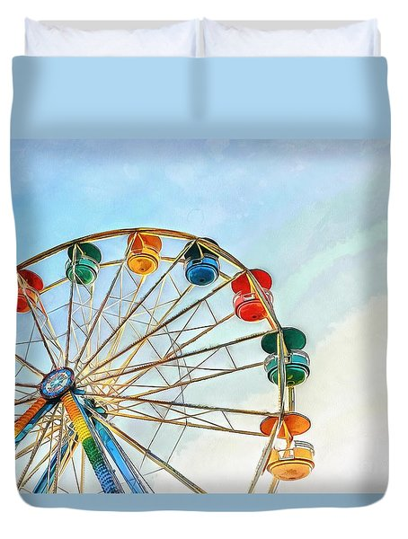 Duvet Cover featuring the painting Wonder Wheel by Edward Fielding