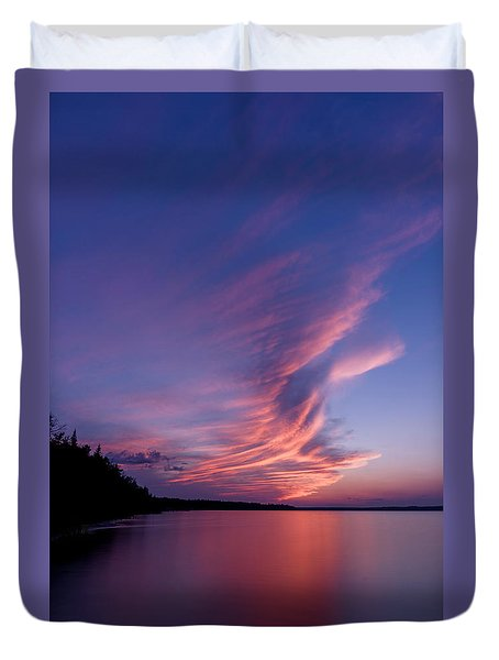 Duvet Cover featuring the photograph Wonderful Skeleton Lake Sunset by Darcy Michaelchuk