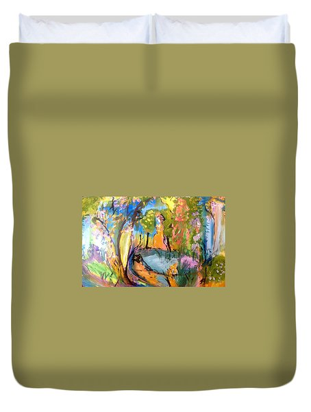 Wondering In The Garden Duvet Cover by Judith Desrosiers