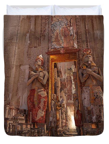Duvet Cover featuring the digital art Wonders Door To The Luxor by Te Hu