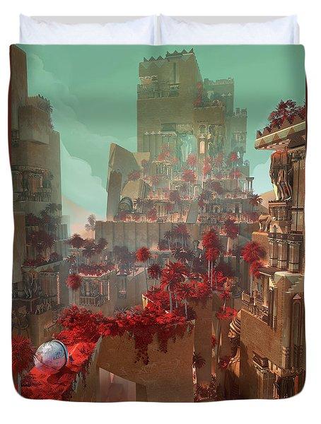 Duvet Cover featuring the digital art Wonders Hanging Garden Of Babylon by Te Hu