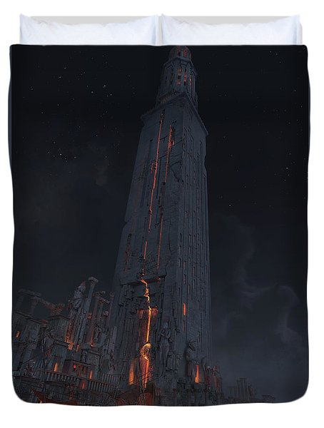 Duvet Cover featuring the digital art Wonders Lighthouse Of Alxendria by Te Hu