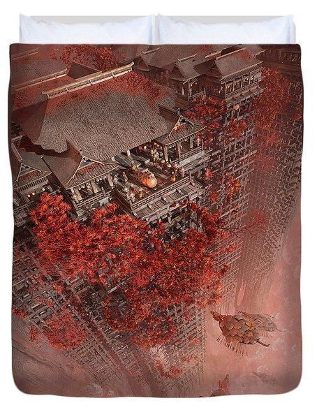 Duvet Cover featuring the digital art Wonders Liyomizu by Te Hu