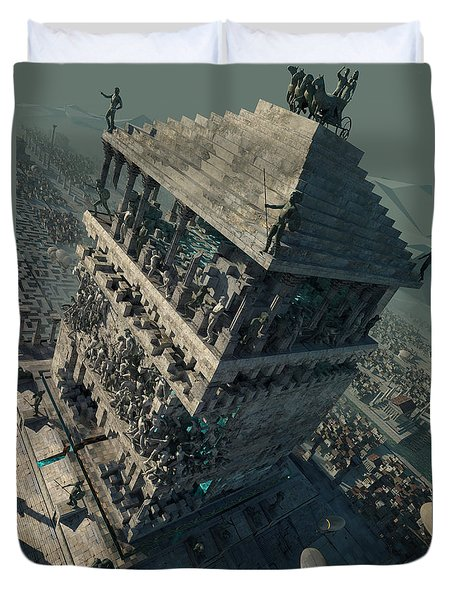 Duvet Cover featuring the digital art wonders Mausoleum at Halicarnassus by Te Hu