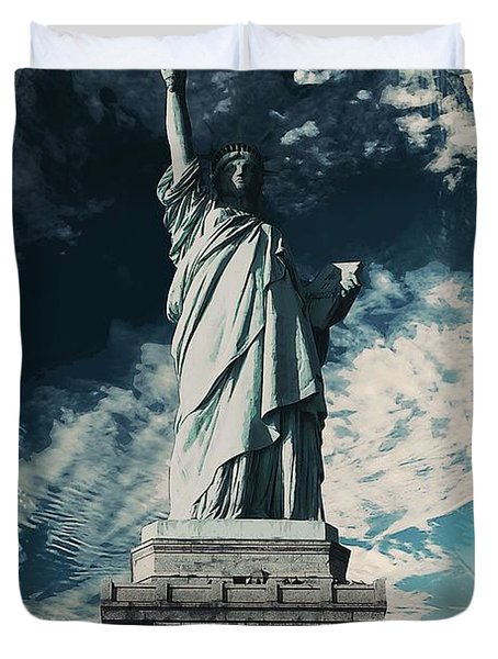 Wonders Of The Worlds - Lady Liberty Of New York Duvet Cover