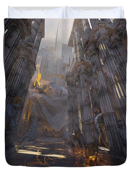 Duvet Cover featuring the digital art Wonders Temple Of Zeus by Te Hu