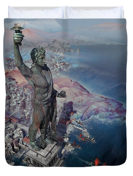 wonders the Colossus of Rhodes Duvet Cover