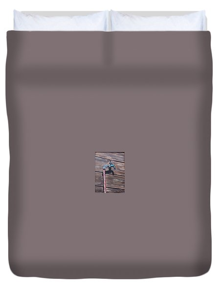 Duvet Cover featuring the painting Wood And Metal by Natalia Tejera