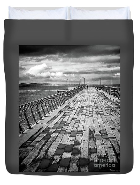 Duvet Cover featuring the photograph Wood And Pier by Perry Webster