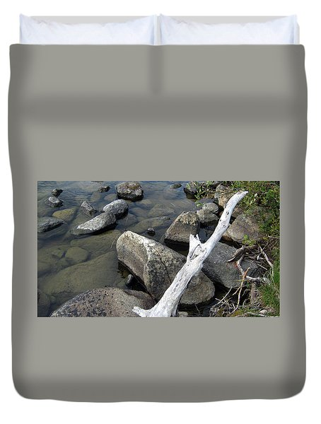 Wood And Rocks In Water Duvet Cover