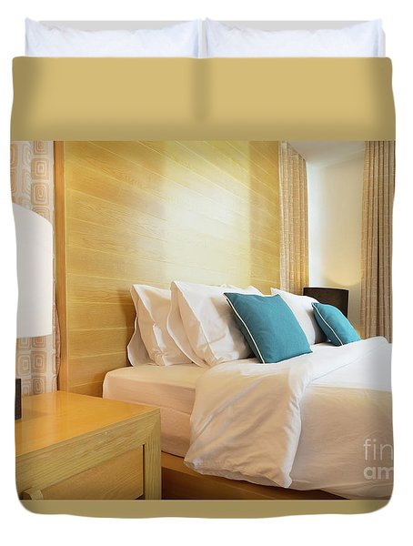 Duvet Cover featuring the photograph Wood Bed by Atiketta Sangasaeng