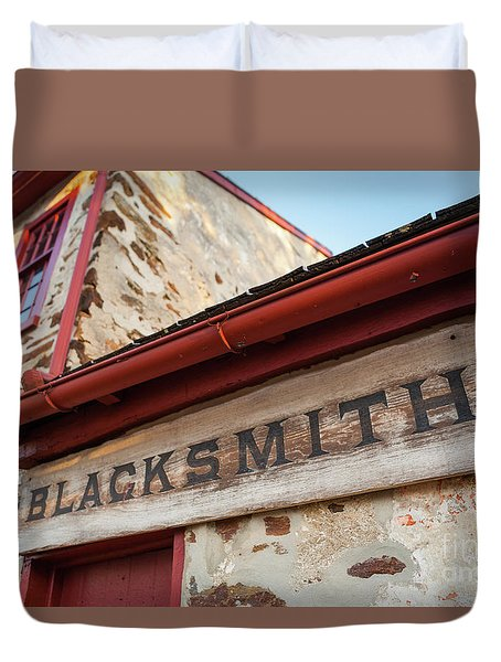 Wood Blacksmith Sign On Building Duvet Cover