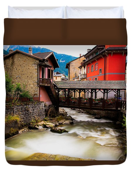 Wood Bridge On The River Duvet Cover