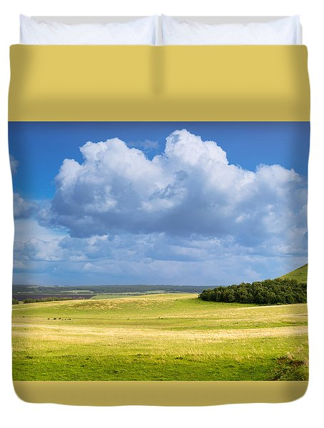 Wood Copse On A Hill Duvet Cover by John Williams