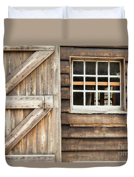 Wood Door And Window Duvet Cover