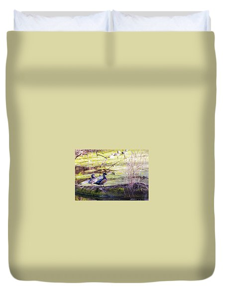 Wood Duck Couple Duvet Cover by Edward Peterson