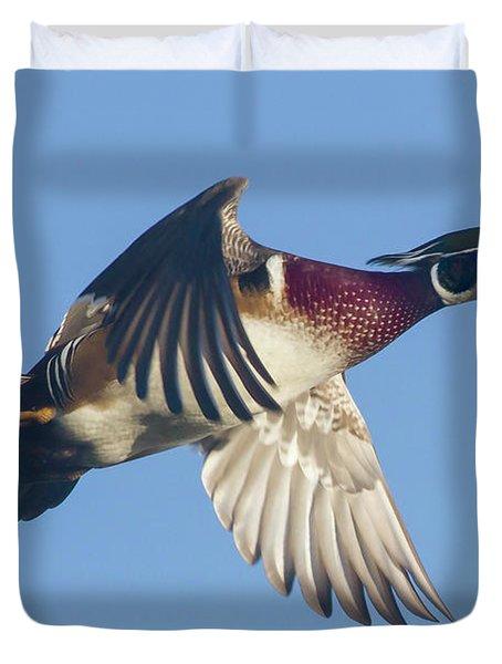 Wood Duck Flying Fast Duvet Cover