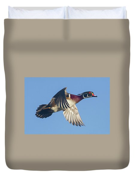 Wood Duck Flying Fast Duvet Cover