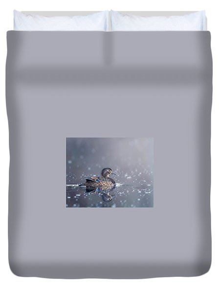 Duvet Cover featuring the photograph Wood Duck Hen by Bill Wakeley