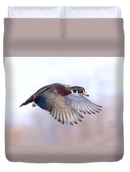 Wood Duck In Flight Duvet Cover by Lynn Hopwood