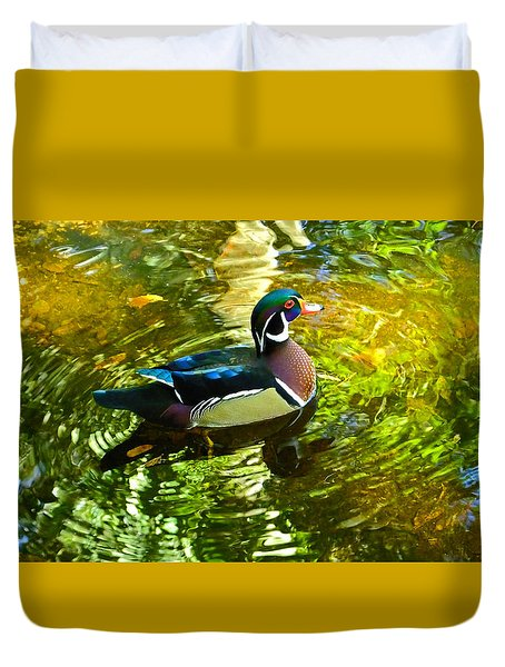 Wood Duck In Lights Duvet Cover