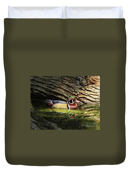 Wood Duck In Wood Duvet Cover