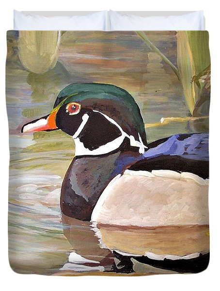Wood Duck On Pond Duvet Cover