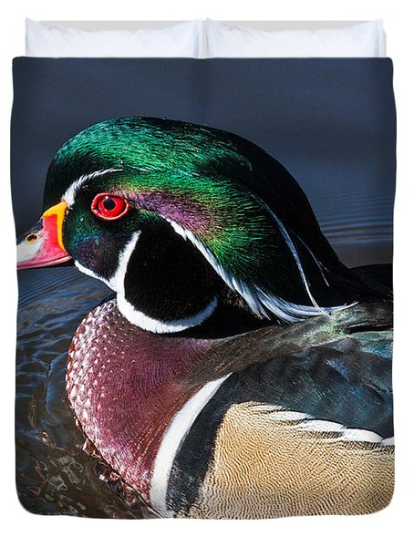 Wood Duck Portrait Duvet Cover