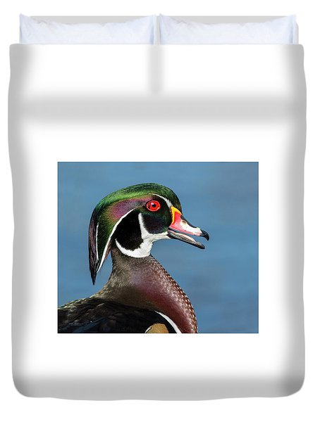 Wood Duck Portrait Duvet Cover