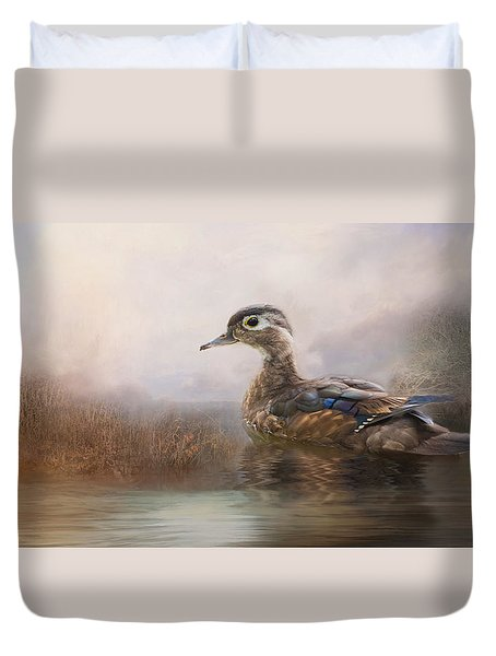 Duvet Cover featuring the photograph Wood Duck by Robin-Lee Vieira