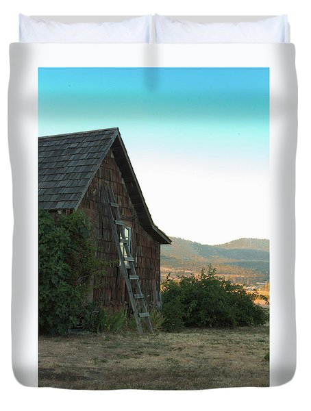 Duvet Cover featuring the photograph Wood House by Jim Adams