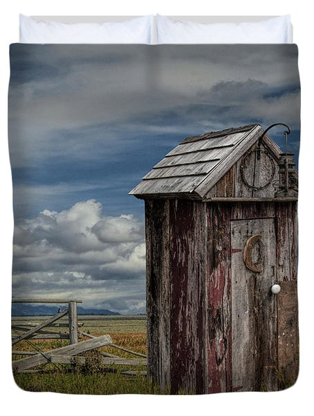 Wood Outhouse Out West Duvet Cover