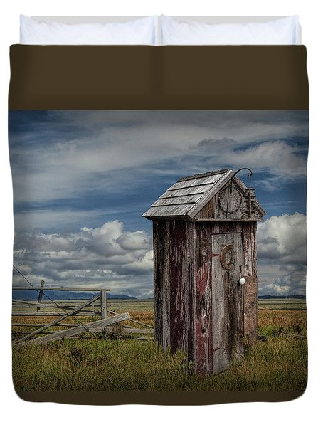 Wood Outhouse Out West Duvet Cover by Randall Nyhof