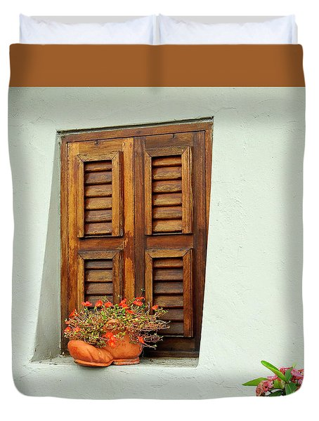 Duvet Cover featuring the photograph Wood Shuttered Window, Island Of Curacao by Kurt Van Wagner