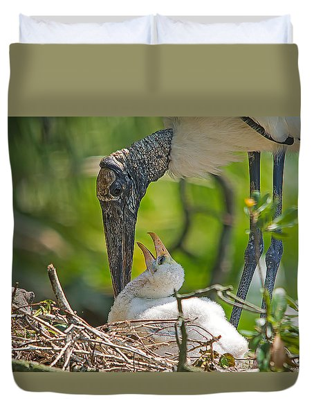Wood Stork Chick And Mom Duvet Cover