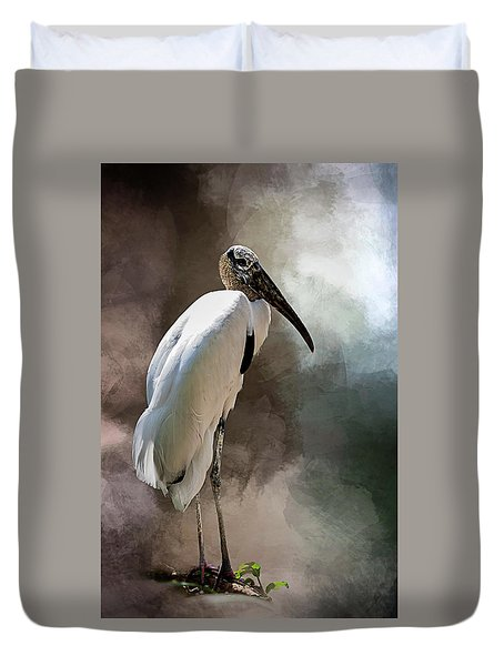 Wood Stork Duvet Cover by Cyndy Doty