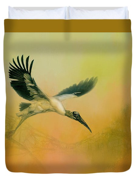 Duvet Cover featuring the photograph Wood Stork Encounter by Marvin Spates
