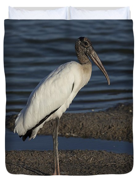 Wood Stork In The Final Light Of Day Duvet Cover