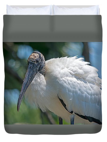 Wood Stork Mom Duvet Cover by Kenneth Albin