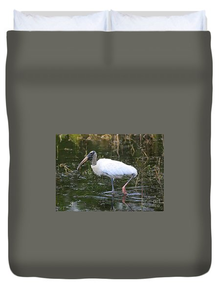 Wood Stork Through The Marsh Duvet Cover