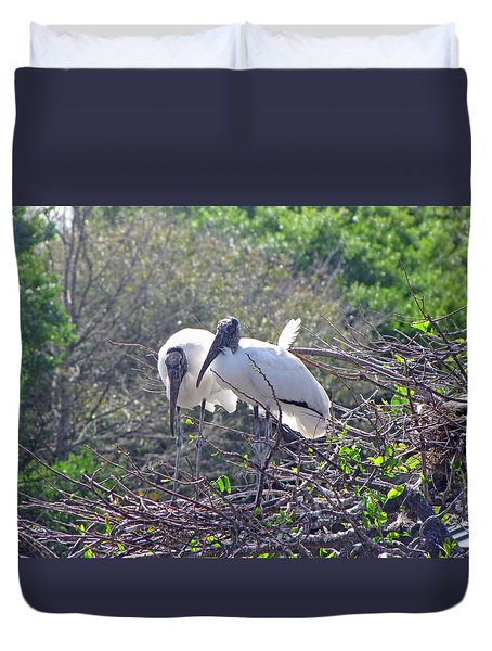 Duvet Cover featuring the photograph Wood Storks by Martha Ayotte
